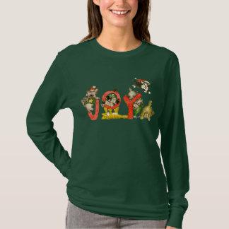 Christmas Cartoon Kitten Cats JOY Apparel Shirt