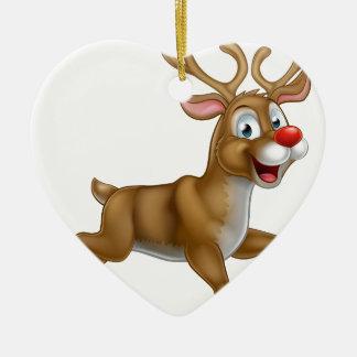 Christmas Cartoon Reindeer Ceramic Heart Ornament