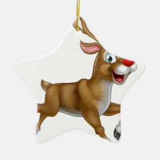 Christmas Cartoon Reindeer Ceramic Star Ornament