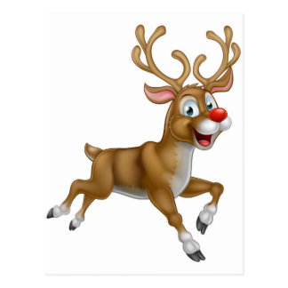 Christmas Cartoon Reindeer Postcard