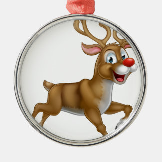 Christmas Cartoon Reindeer Silver-Colored Round Ornament