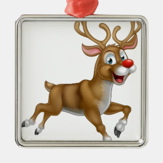 Christmas Cartoon Reindeer Silver-Colored Square Ornament