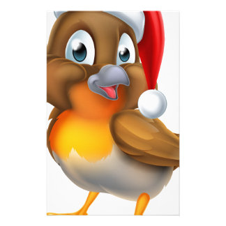 Christmas Cartoon Robin Bird Stationery Design