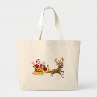 Christmas Cartoon Santa and Reindeer Sleigh Large Tote Bag