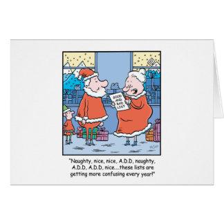 Christmas Cartoon Santa's Good and Bad list(b) Greeting Cards