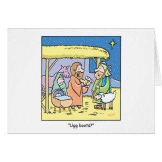 Christmas Cartoon Ugg Boots Card