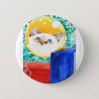 Christmas Cat 2 Inch Round Button