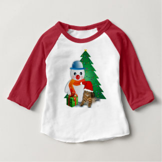 Christmas Cat and Snowman, Baby T-Shirt