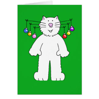 Christmas cat baubles hanging from it s whiskers card
