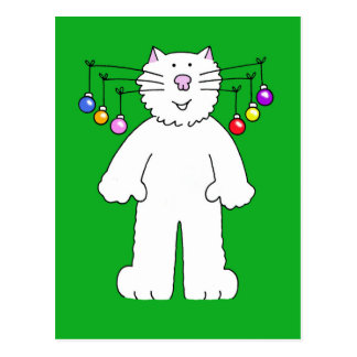 Christmas cat, baubles hanging from it's whiskers. postcard