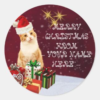 Christmas Cat Customizable Name Greetings Postcard Classic Round Sticker