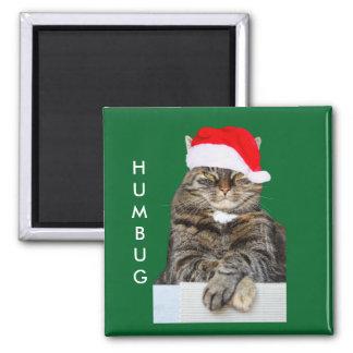 Christmas Cat Humbug Photo with Santa Hat Square Magnet