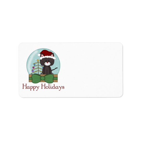 Christmas Cat Kitten Holiday Christmas Snowglobes Label