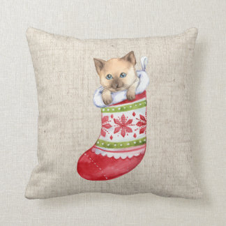 christmas cat linen look pillow cushion