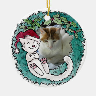 Christmas Cat Nap Wreath Photo Ornament