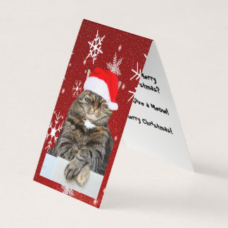 Christmas Cat Photo in Santa Hat Snowflake in Red Card