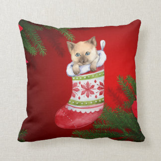 christmas cat red silk  look pillow cushion