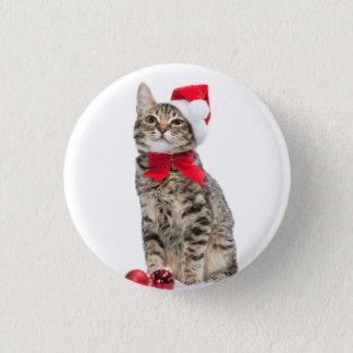 Christmas cat - santa claus cat - cute kitten 1 inch round button
