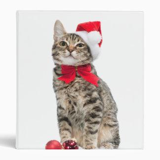 Christmas cat - santa claus cat - cute kitten 3 ring binders