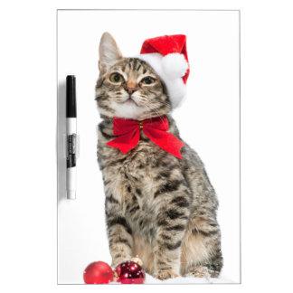 Christmas cat - santa claus cat - cute kitten dry erase board