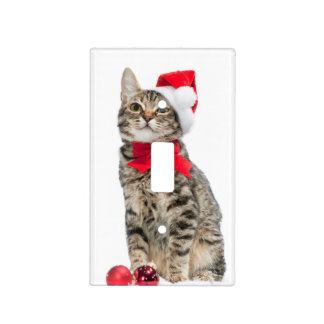 Christmas cat - santa claus cat - cute kitten light switch cover