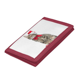 Christmas cat - santa claus cat - cute kitten tri-fold wallet