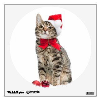 Christmas cat - santa claus cat - cute kitten wall sticker
