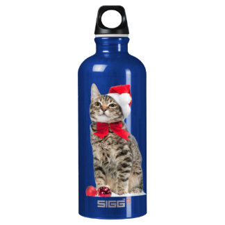 Christmas cat - santa claus cat - cute kitten water bottle