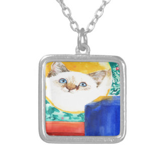Christmas Cat Silver Plated Necklace