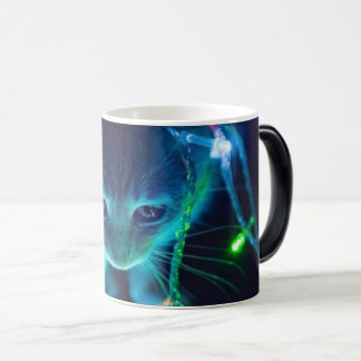 Christmas Cat String of Lights Morphing Mug