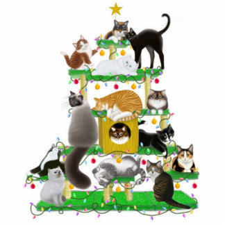 Christmas Cat Tree Photo Sculpture Ornament