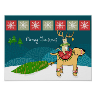 Christmas Cat with Antlers and Dog Reindeer Poster