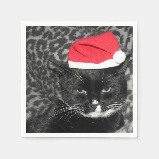 Christmas cat with Santa's hat Disposable Napkins