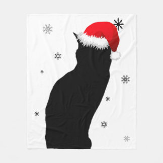 Christmas Cat with Snow Fleece Blanket