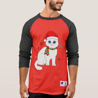 Christmas Cat with Stars and Snowflakes T-Shirt