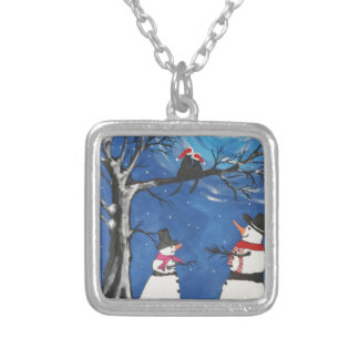 Christmas Cats In Love Silver Plated Necklace