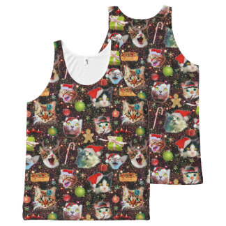 Christmas Cats in Space Galaxy Stars Funny Holiday All-Over-Print Tank Top