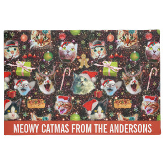 Christmas Cats in Space Galaxy Stars Funny Holiday Doormat