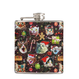 Christmas Cats in Space Galaxy Stars Funny Holiday Hip Flask