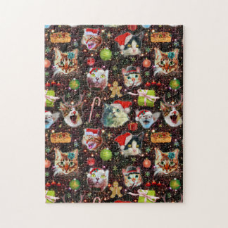 Christmas Cats in Space Galaxy Stars Funny Holiday Jigsaw Puzzle