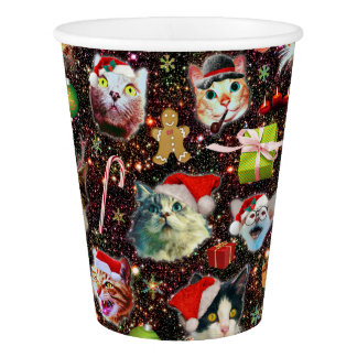 Christmas Cats in Space Galaxy Stars Funny Holiday Paper Cup