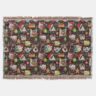 Christmas Cats in Space Galaxy Stars Funny Holiday Throw Blanket