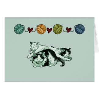 Christmas cats sleeping note card template