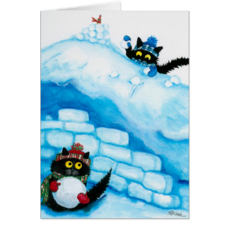 Christmas Cats Snow Ball Fight Card by Bihrle