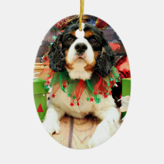 Christmas - Cavalier King Charles Spaniel - Bandit Ceramic Oval Ornament