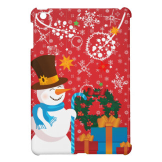 Christmas celebration. Snowman with gifts on red iPad Mini Case