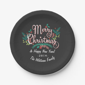 CHRISTMAS CHALKBOARD CUTE HOLLY AND BRANCHES 7 INCH PAPER PLATE