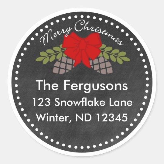 Christmas Chalkboard Pine Cones Address Label