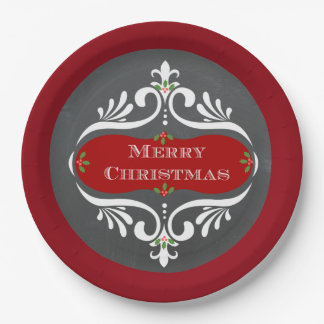 Christmas Chalkboard Red Paper Plates 9 Inch Paper Plate