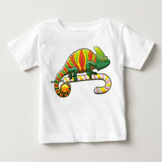 Christmas Chameleon Walking on a Candy Cane Baby T-Shirt